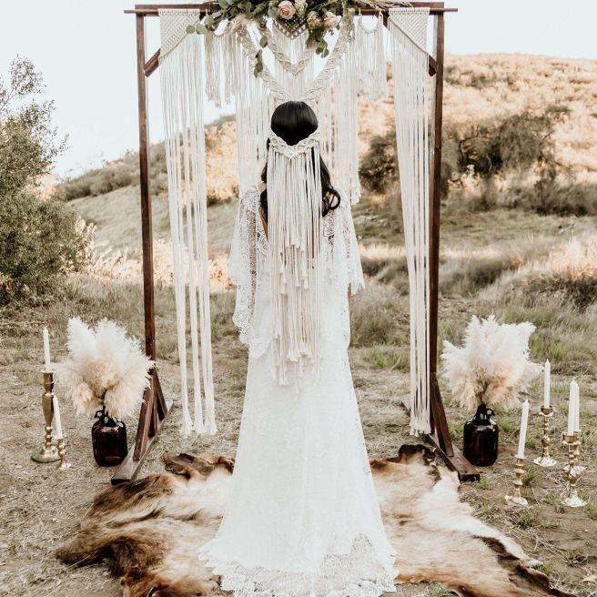 Macrame wedding veil, macrame veil, bride, boho bride, bohemian, bridal shower, hippie, headband, crown, ivory